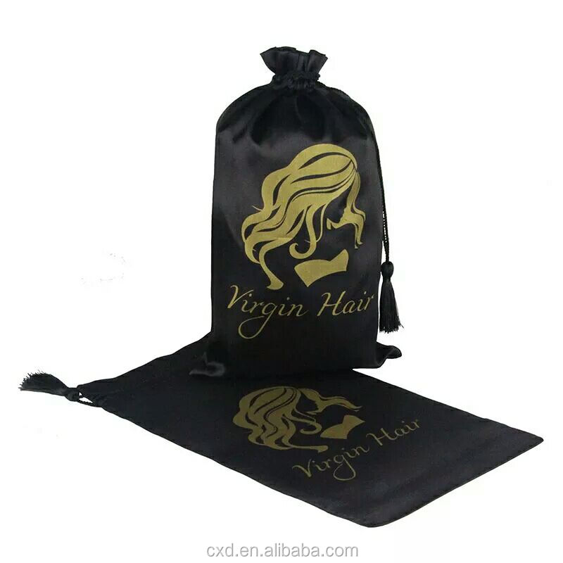 satin pouches for hair extension/satin bags pouch bags for wig with customized logo