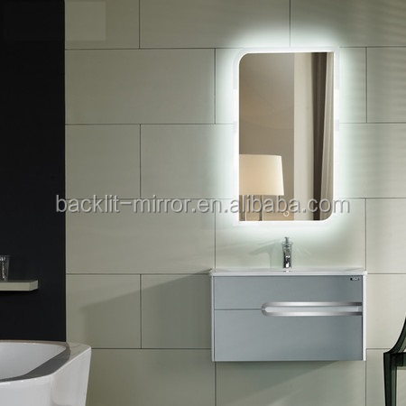 Luxurious hotel bath mirror with defogger and lock TV and radio