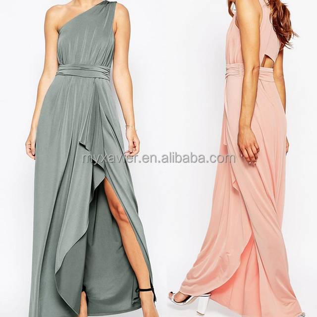 OEM factory best sell wedding dress maxi one shoulder stylish slinky design for women bridesmaid dress women