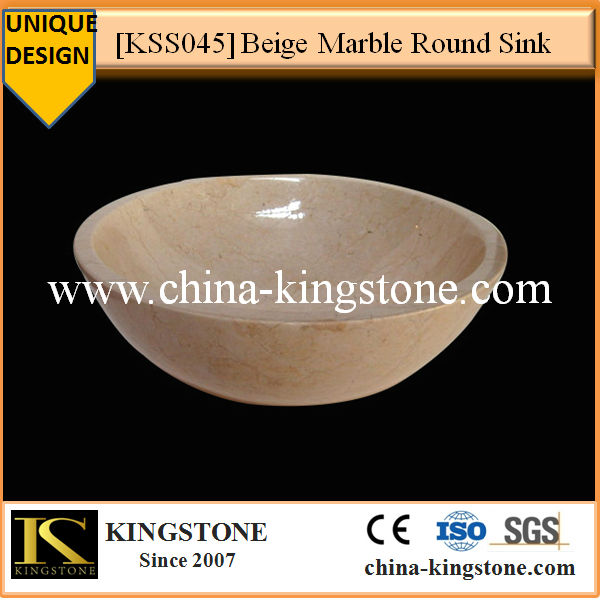KSS045 Beige Marble Round Stone Mobile Sink