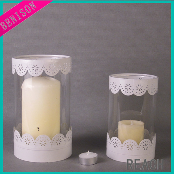 wholesale cheap white color snowflake pattern metal with glass jar table candle holder for wedding decoration