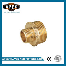 APEX Brass Nipple Reducing Thread male Hexagon Straight Coupling