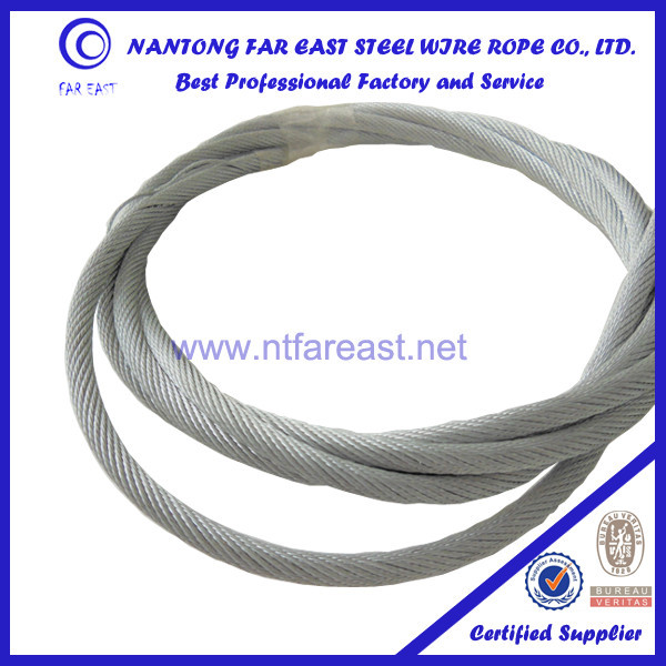 China flexible 19x7+IWSC-5.0mm galvanized steel wire rope