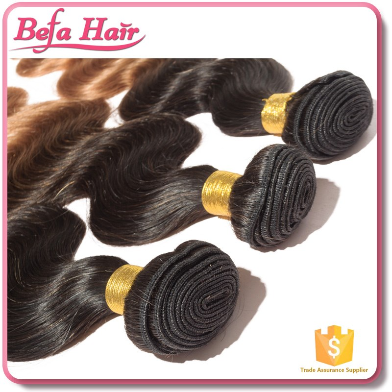 Befa Hair top grade popular straight and body wave ombre hair weave color 1b 30