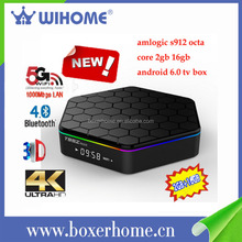 Fashion Design 2GB+16GB amlogic s912 Android 6.0 DUAL WIFI KODI 17.0 internet live tv box for free on-line tv channel