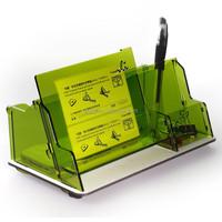 transparent green acrylic business card holder desk