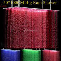 led shower 3 color chainging shower head rainfall ceiling mount big rain showerhead 50*100cm