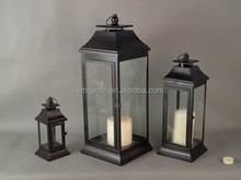 2015 Gifts & Decor Large Contemporary Table Top Metal Candle Holder Lantern, Pillar Candle Holder