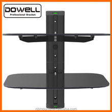Economy Plastic and Double Glass Shelf DVD Wall Mount