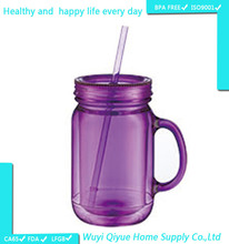 16oz personalized PVC or Paper insert plastic mason jar, plastic Freezer beer mug, plastic tumbler with straw