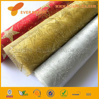 China Factory Christmas bronzing snowflake organza fabric roll ,cheap organza fabric roll ,organza rolls fabric wholesale
