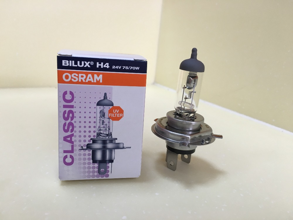 OSRAM H4 24V 75/70W P43t Halogen More Bright Truck Headlight Bulbs 64196