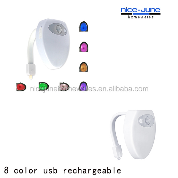 Newest 8 color with USB rechargeable led sensor toilet night light