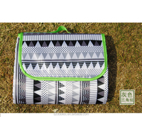Custom Foldable Tartan Waterproof Fleece Picnic Rug With Velcro and Handle