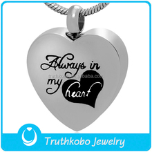 China Jewelry Wholesale Cremation Necklace Keepsake Jewelry Ash Pendant Stainless Steel Always In My Heart Memorial Urn Pendant