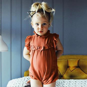 Wholesale Baby Clothes Cotton Linen Romper Summer Ruffles Sleeveless Baby Romper