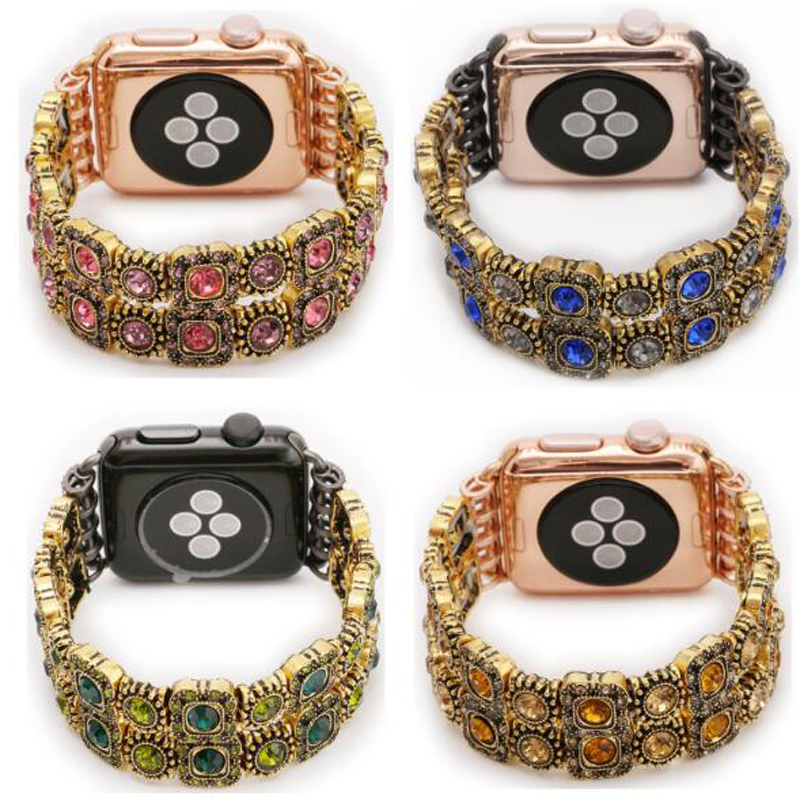 Wholesale woman fashion style gemstone watch band for <strong>Apple</strong>