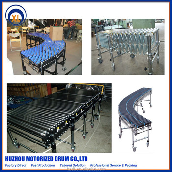 Flexible Power Roller Conveyor ,Extensible motorized roller conveyor for handing Conveyor