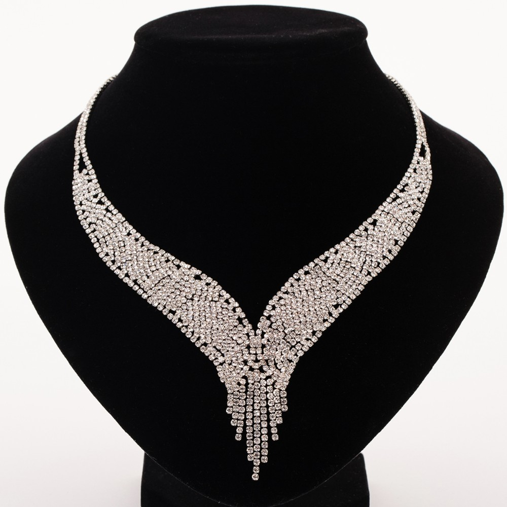 Wedding Diamante Crystal Rhinestone Bridal Jewelry Sets Silver Color Waterdrop Necklace Earrings Party Accessories