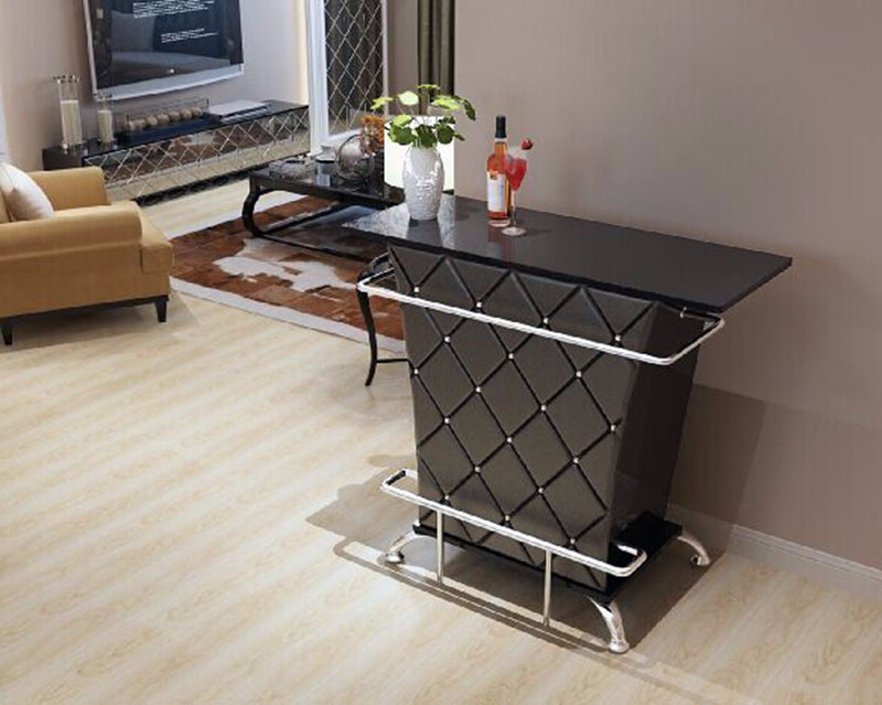2017 Glossy Pu Leather glass top chrome metal Kd Flat Packing Modern Good Selling bar table
