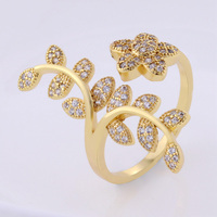 Fashion natural cz stone ring 18K Yellow Gold Plated Engagement wedding rings