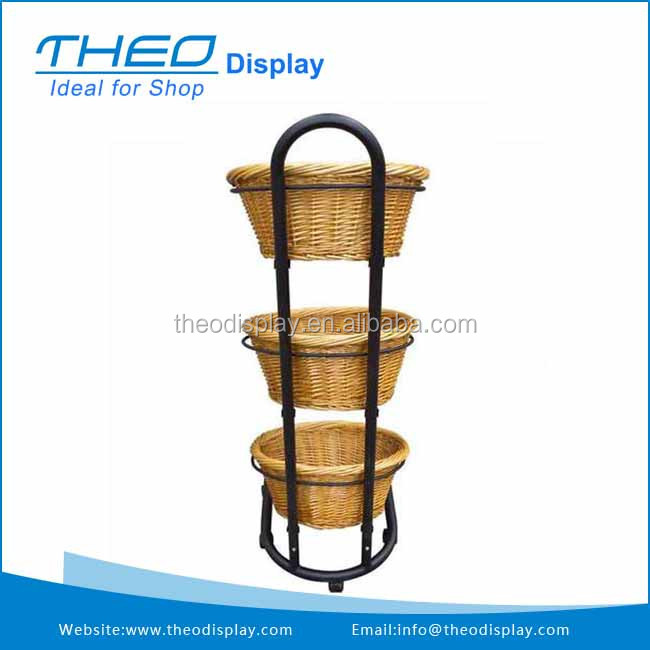 Mobile Round Tube Display Standing Rack with Wicker Basket