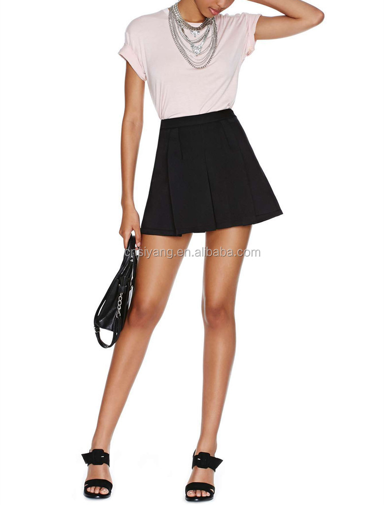 Sexy lady take shape black scuba glamorous mini skirt- SYK15206