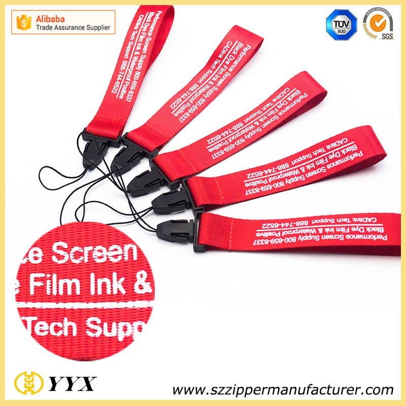 Custom short lanyard free logo design with plastic buckle cord hook