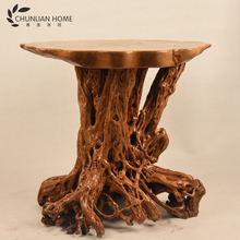 2017 New desgin antique wooden root carving dining room table