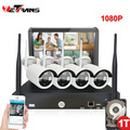 Wireless Home Surveillance System with Monitor 10.1 Inch Plug Play 20m Night Vision Outdoor Wifi IP Camera Kit IPK8204B-W