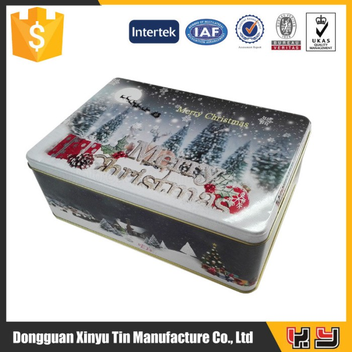 Christmas decorative empty tin can, cake cookies biscuit tin box