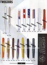 High Quality Colorful Stainless Steel Finish Powder Coated Eyebrow Tweezers