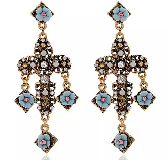 Fashion high quality cheap jewelry gold plated rhinestone with The cross style blue flower earrings for ladies gemstone jewelry