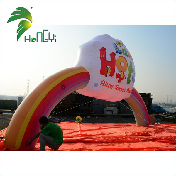 Amazing Rainbow Printing Helium Inflatable Arch / Funny Front Yard Entrance Gate Design