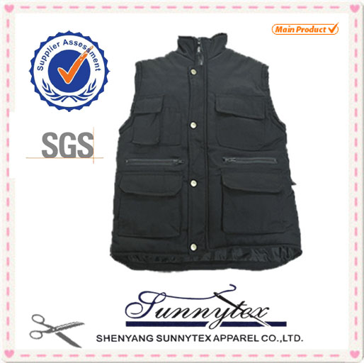 Sunnytex OEM cheap Mens Sleeveless jacket With Zipper winter padded vest for men