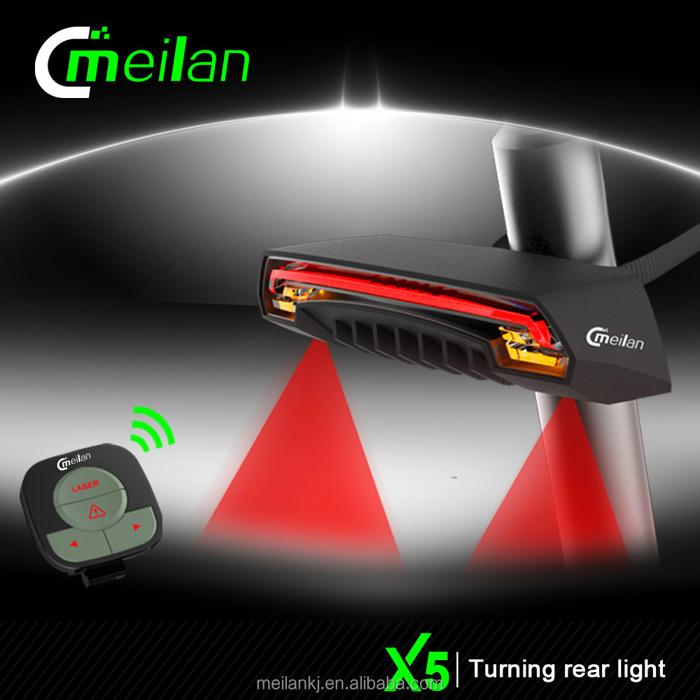 Meilan Wireless Remote Bike light Rear lamp X5 Light Sensor Automatic On off Turn Signals Remote Control Road bike cycle