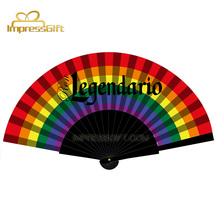 Spanish traditional colorful printing handicraft silk hand fan wooden