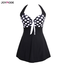 JOYMODE Summer Bikinis One Piece Skirtini Polka Dot Swimsuit Women Halter Swimdress Bottom Cover Up Skirt Bikini Set Black