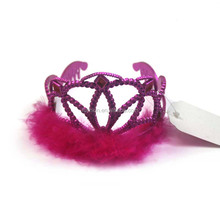 New Fashion Design CosPlay Party Props Plastic Princess Children's Red Rhinestone Crowns With Feather