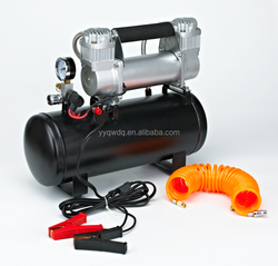 Double cylinder 12V air compressor with tank