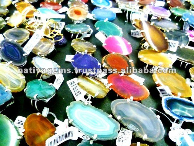 TOP GRADE AGATE SLICE RING FOR WHOLESALE