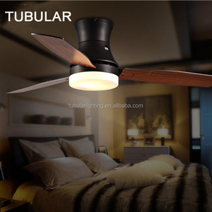 Modern Loft Retro Wooden and Iron Celing Fan with Light for Coffee, Bar and Living room