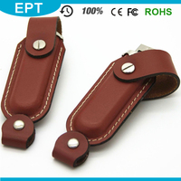 KeychainLeather Stick Brown Color Leather PU USB Flash Drive Camera CE