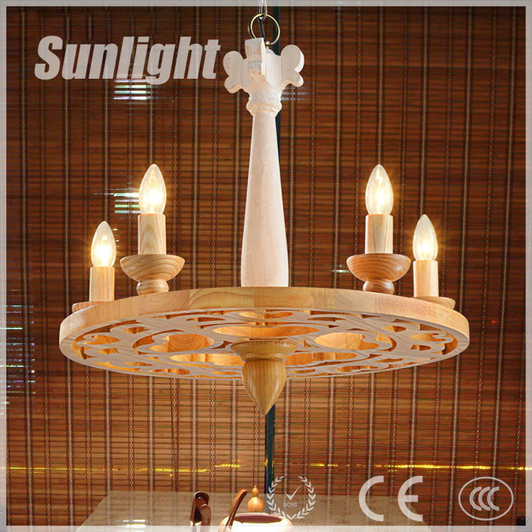 American country candle shape wooden pendant lamp/light