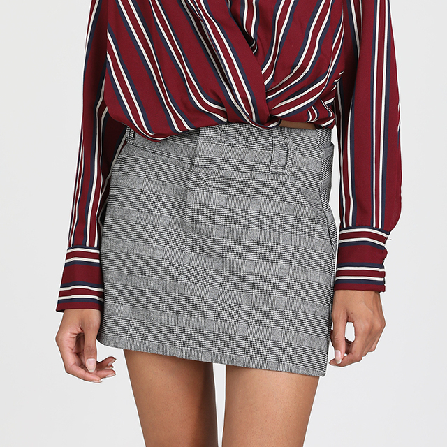 OEM Service Casual Women Shirts With Pockets Custom Pencil Plaid Mini Skirt