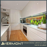 2018 Newest Kitchen Furniture Customized Simple Design Industrial Modern MDF Kitchen Cabinets