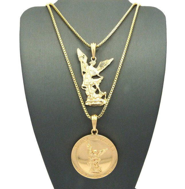 Saint Michael twisted Archangel Round Medal Pendant Double Chain Necklace