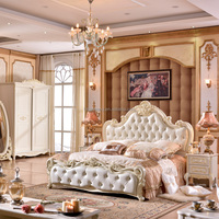 Luxury Classical European French Wood Carved Wedding White Leather Bedroom Furniture Set