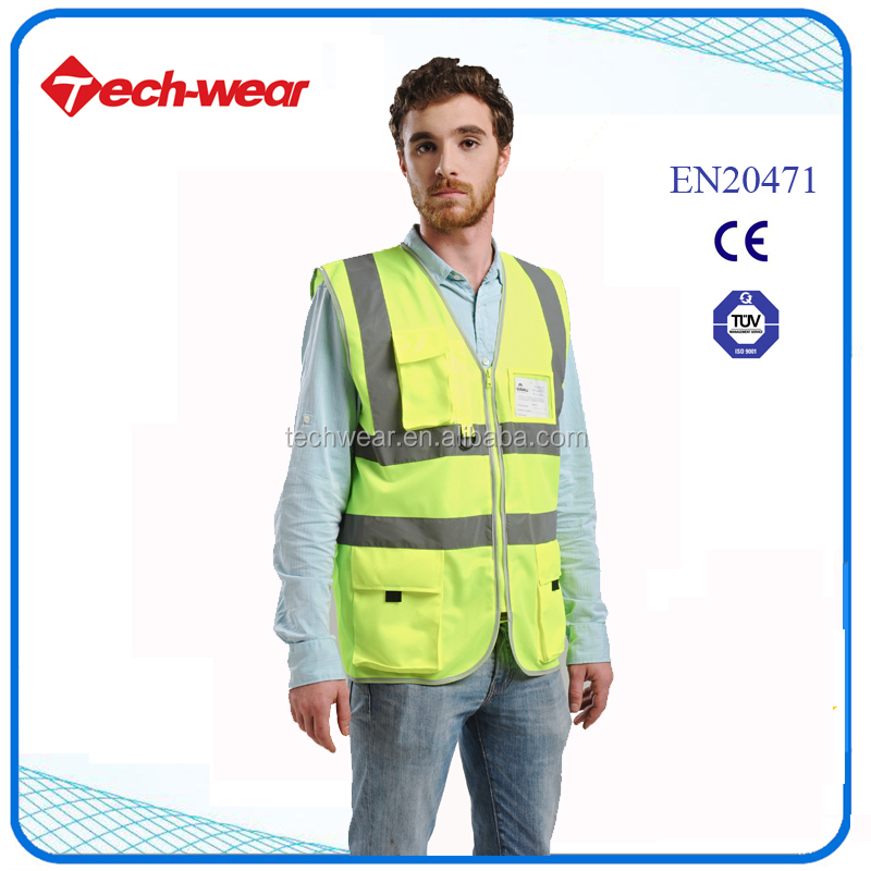 High Visibility 100% polyester safety waistcoat vest with pocket