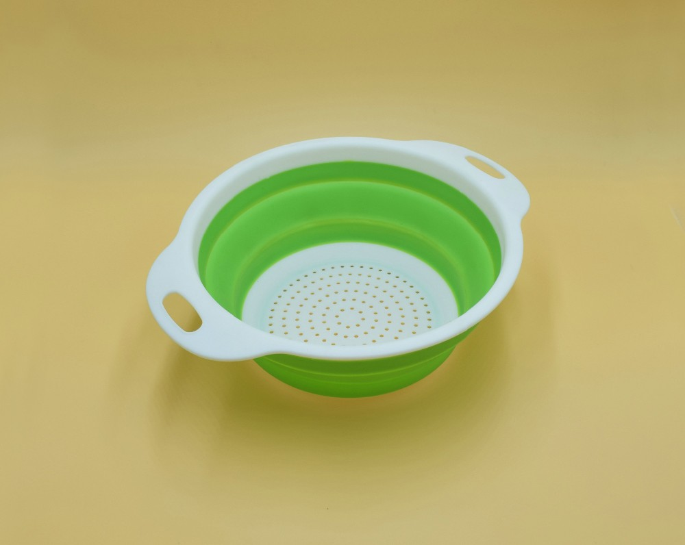Silicone kitchen tools folding drain bowl